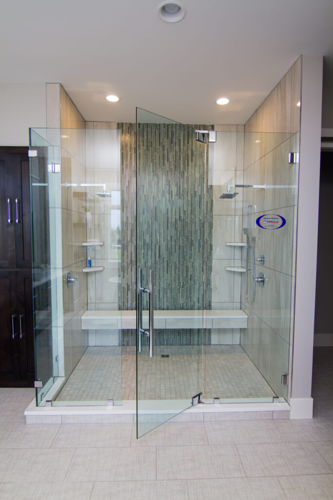 This is an image of a shower remodeling project.